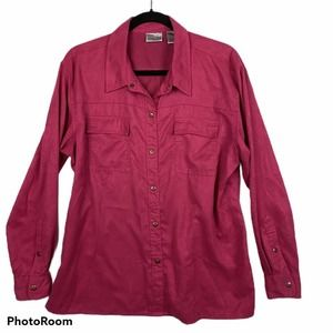 Chico's Pink Long Sleeve Snap Front Top